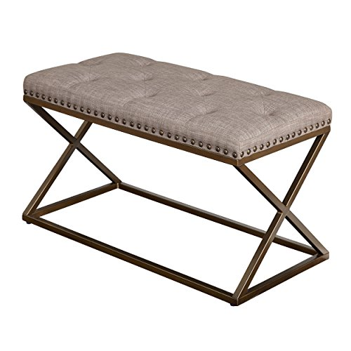 Sturdy Taupe Bench Is Perfect for Your Living Room, Hallway or Bedroom Decor. It's Made of Metal & Is Upholstered with Linen. by Simple Living Products