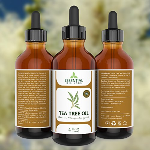 photo Wallpaper of Essential Oil Labs-Essential Oil Labs Natural Therapeutic Grade Tea Tree Oil With Glass Dropper, 4 Ounce-