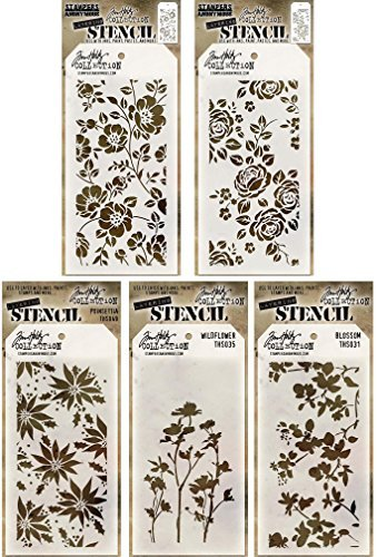 Tim Holtz - Stencils Set 10 (''Flowers'') - Five Item Bundle - Roses, Floral, Blossom, Poinsettia, and Wildflower by Tim Holtz
