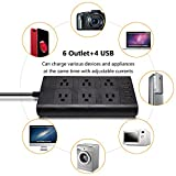 SUPERDANNY 15A Surge Protector Power Strip Flat
