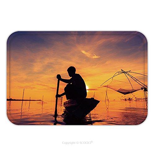 Flannel Microfiber Non-slip Rubber Backing Soft Absorbent Doormat Mat Rug Carpet Silhouette Of Fishermen 298857857 for (Costume Of Indian Fishermen)