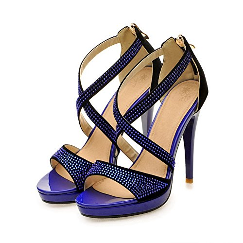 VogueZone009 Womens Open Toe High Heel Platform Stiletto PU Frosted Solid Sandals with Glass Diamond, Blue, 2.5 UK