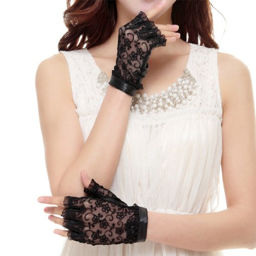 Cyrilus Women's genuine leather gloves fingerless imported suede lace gloves CYW022