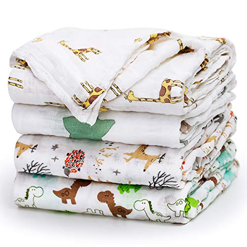 "Upsimples Newborn Baby Swaddle Blanket Unisex Soft Bamboo Muslin Swaddle Blankets 47"" x 47"" Large Receiving Blanket for Boys and Girls, Set of 4 - Fox/Elephant/Giraffe/Dinosaur ()"