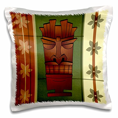 Tropical Tiki Wood (3dRose pc_77490_1 Wood Grain Tropical Tiki Mask - Hawaiian Flowers Green and Cream - pillow Case, 16 by)