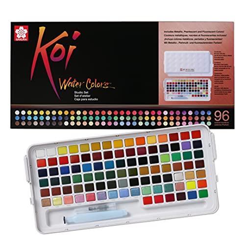 Koi Water Colors Studio Kit de peinture 96 godets avec peinture métallique, nacre et fluorescente