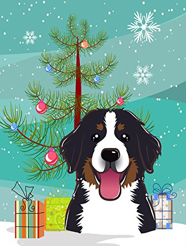 Caroline's Treasures BB1609CHF Christmas Tree and Bernese Mountain Dog Canvas House Flag, Large, Multicolor