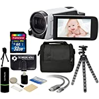 Canon VIXIA HF R700 57x Zoom Full HD 1080p Video IS Digital Camcorder (White) + 32GB Card + Case + Tripod + Digital Camera Cleaning Kit