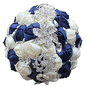 Flonding Wedding Bouquets Crystal Satin Rose Bride Bridal Bouquet Romantic Bridesmaid Holding Flower for Valentine's Day Confession Party Church Decor 8