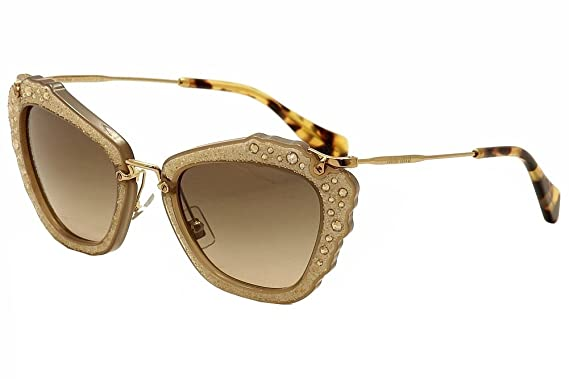 68a36ecd4cb3 Miu Miu MU04QS MAR3D0 Opal Beige Noir Cats Eyes Sunglasses Lens Category 2  Size