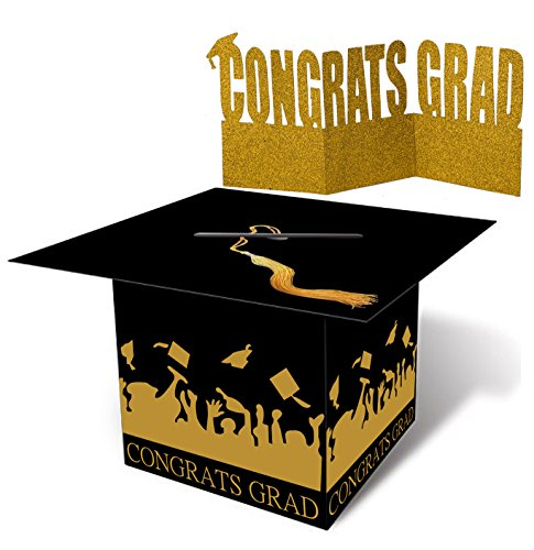 jollylife Grad Cap Card Box Centerpiece Holder- Graduation Party Supplies 2019 - Congrats Decorations