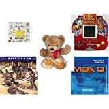 """Children's Fun & Educational Gift Bundle - Ages 6-12 [5 Piece] - Diary of a Wimpy Kid Game - High School Musical 5 in 1 Electronic Handheld Game - Eden Toys Teddy Bear Red Bow 18"""" - The Best Book o"""