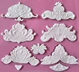 Baroque Lace Designs 9 Cavity Silicone Mold for Fondant, Gum Paste, Chocolate, Crafts