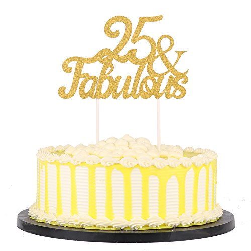 Fabulous Cakes - PALASASA Gold Glitter 25 & Fabulous Cake Topper, Wedding, Birthday, Anniversary, Party Cupcake Topper Decoration
