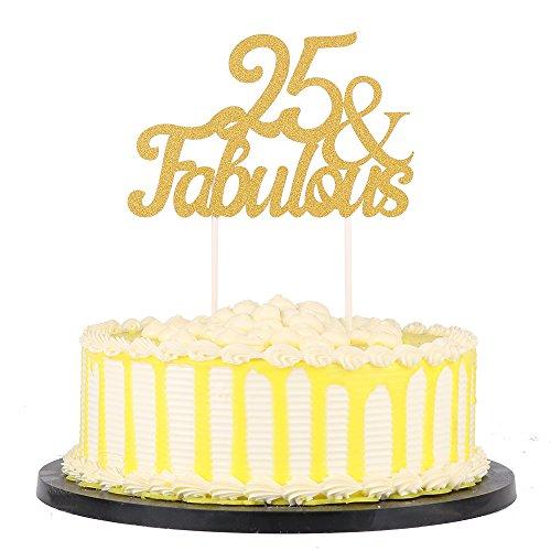 PALASASA Gold Glitter 25 & Fabulous Cake Topper, Wedding, Birthday, Anniversary, Party Cupcake Topper Decoration