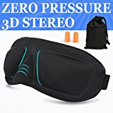 AMAZKER 3D Sleep Mask & Ear Plugs Blocks out most sunlight,Anti-fade, Anti-bacterial, Anti-mite, Durability, Includes Carry Pouch for Eye Mask and Ear Plugs - For Travel, Shift Work & Meditation.