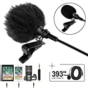 """Professional Grade Lavalier Lapel Microphone  Omnidirectional Mic 393"""" with Easy Clip On System  Perfect for Recording YouTube/Interview/Video Conference/Podcast/Voice Dictation/iPhone"""