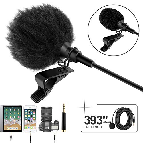 "Professional Grade Lavalier Lapel Microphone ­ Omnidirectional Mic 393"" with Easy Clip On System ­ Perfect for Recording YouTube/Interview/Video Conference/Podcast/Voice Dictation/iPhone"