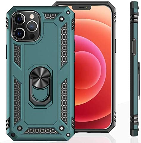 UNKNOK Compatible with iPhone 12 5G Case, iPhone 12 Pro 5G Case [Military Grade ] Drop Tested Metal Rotating Ring Kickstand Magnetic Support Cover for iPhone 12 and that iPhone 12 Pro 6.1 Inch (Green)