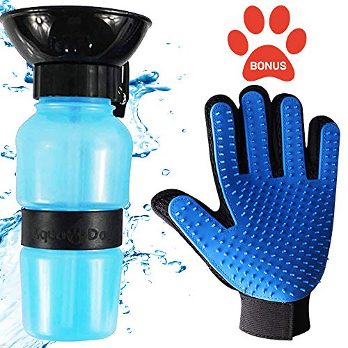 Dog Water Bottle, Portable Water Bottle for Dogs for Walking, Travel Water Bowls for Dogs and Pet Grooming Glove, Drinking Puppy Gear with Water Dispenser