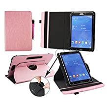 Emartbuy® Hipstreet 10.1 Inch Phoenix Tablet Universal ( 9 - 10 Inch ) Baby Pink Premium PU Leather 360 Degree Rotating Stand Folio Wallet Case Cover + Hot Pink Stylus