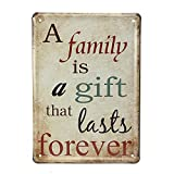 Family Sign Wall Decor Metal Plaques Vintage Decorative Painting