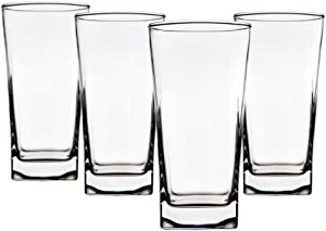 Home Essentials Red Series 16 Oz. Square Highball Glasses Cups, Set of 8