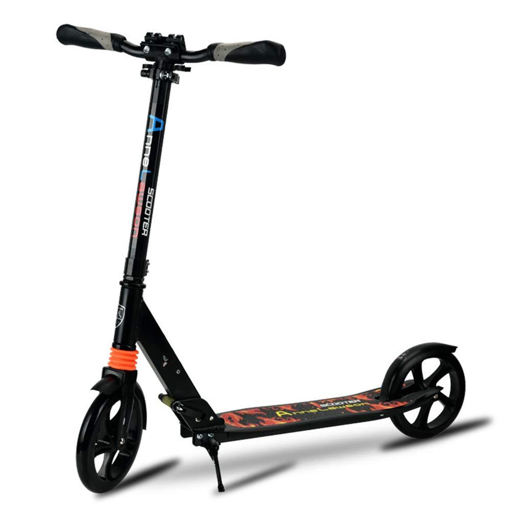 キックスクーター 大人の十代の若者たちのための大きい車輪の蹴りのスクーター - 後部フェンダーブレーキが付いている折る軽量の調節可能な通勤のスクーター、非電気、220ポンドの可搬重量 (色 : 白) B07M7BFTQP 黒 黒