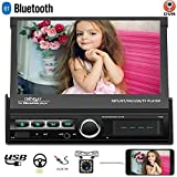 Camecho Single Din Folding Car Stereo Radio Receiver, 7 Inch Touch Screen Car MP5 Multimedia, Support Build-in DVR Input Bluetooth iOS&Android Mirror Link FM Radio+12LED Lights Backup Camera