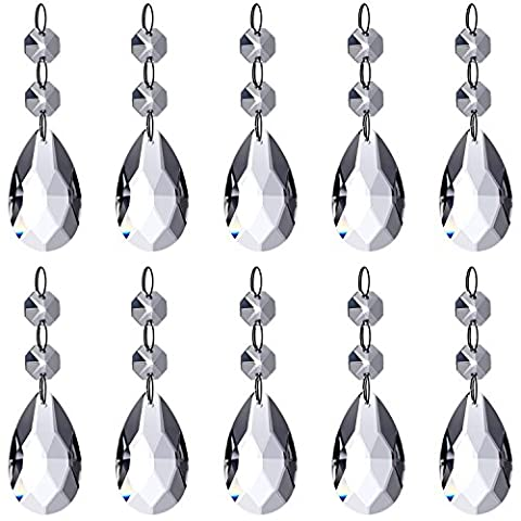 Neewer Teardrop Chandelier Crystal Pendants Glass Beads Pendant for Wedding/Home/Office House Decoration (10-Pack) - Ornamento Suncatcher
