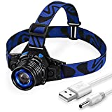 Rechargeable Led Headlamps, Zoomable, 160LM (Dark blue)
