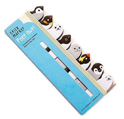 1 X 120 Sheets Cute Animal Sticker Bookmark Sticky Notes Memo Note Pads Page Flag (Penguin)