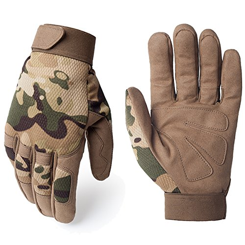 JIUSY Tactical Full Finger Gloves for Cycling Motorcycle Motocross Riding Driving ATV Bike Hunting Hiking Airsoft Paintball Shooting Mechanic Work Size (Atv Hunting)