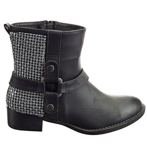 Sopily - Zapatillas de Moda Botines Cavalier Media pierna mujer metálico Talón Tacón ancho 3 CM - plantilla sintética - forradas en piel - Negro
