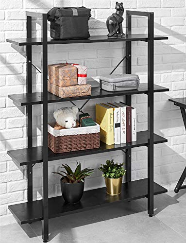 ORAF Bookshelf 4 Tier Industrial Style Bookcase, Solid 130lbs Load Capacity per Shelf Sturdy Bookshelves with Steel Frame, Wide Storage Organizer 41Wx12Dx55H inches Home Office Shelf, Black
