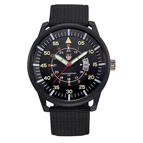 Amazon.com : Men Quartz Watch, CReditably Military Quartz Black Dial Date Watch Luminous Sport Nylon Band Wrist Watch (Black) : Sports & Outdoors