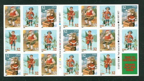 (USPS Santa Claus and Child Christmas Booklet Pane of Twenty 32 Cent Stamps Scott 3011a )