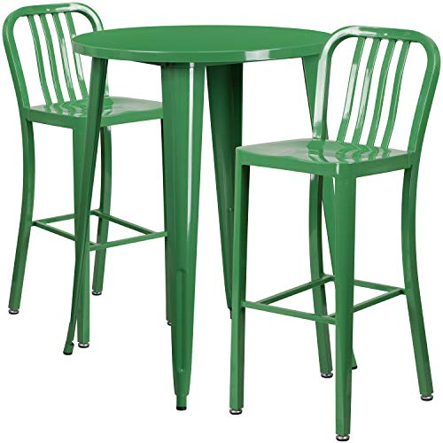 My Friendly Office MFO 30'' Round Green Metal Indoor-Outdoor Bar Table Set with 2 Vertical Slat Back Stools