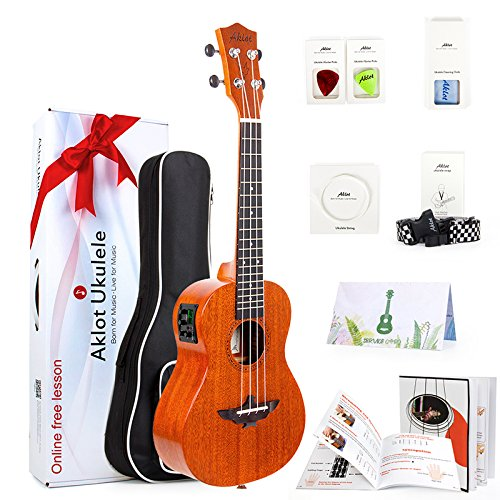 AKLOT Electric Concert Ukulele 23 Inch Ukele Solid Mahogany Uke Starter Kit With Free Online Lesson 8 Packs Accessory ( Gig Bag Picks Tuner Strap String Cleaning Cloth Instruction Book Gift Box )