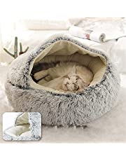 YcLiceMort Pet Bed for Cat Small Dogs Calming Dog Cat Bed Small Dogs Cats Nest Soft Long Plush Pet Bed Pet Bed Cushion Sleeping Sofa Warming Round Bed House for Kitty Teddy