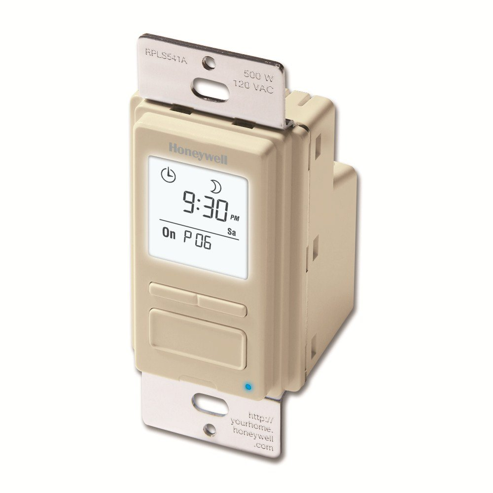 Honeywell RPLS541A1001/U EconoSWITCH 7-Day Programmable Timer for Lights, Light Almond