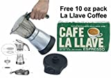 Electric Cuban Style 3 TO 6 Cups Coffee Maker with One Cafe La LLave 10 oz pack