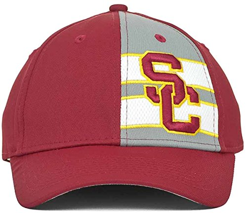 USC Trojans Rocko NCAA Stretch Flex Fitted Cap Hat (Small/Medium, Cardinal Red)