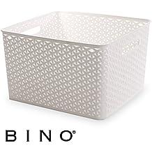 BINO T-Weave Woven Plastic Storage Basket, Large (White)