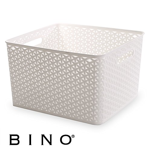 BINO T-Weave Woven Plastic Storage Basket, Large (White Plastic Storage Basket)