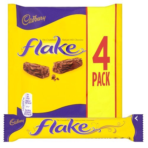 Original Cadbury Flake Chocolate Bar, 80 g (Pack of 4) Imported from the UK England