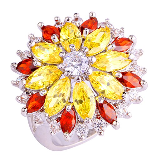 Emsione 925 Sterling Silver Plated Created Flower Citrine&Garnet Womens Ring (Ring Garnet Flowers)