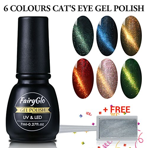FairyGlo Nail Polish 3D Cat's Eye Nail Art Starter Kit UV LED Soak Off Magnet Effect Gift Set 6 PCS 7ml (Halloween Eyes Nail Art)