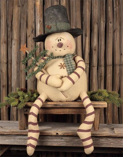 Blizzard Snowman with Tree - Primitive Country Stuffed Stitched Seasonal Christmas ()