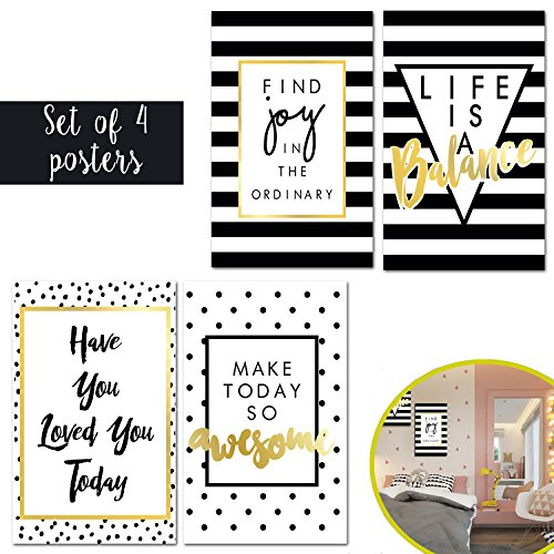 Matching Set Of Four Thick 11X17 Inspirational Art Prints -